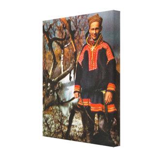 Vintage Noruega, Laponia, Sami y reno Impresión En Lona Estirada