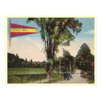 Vintage Noruega Michigan Tarjeta Postal