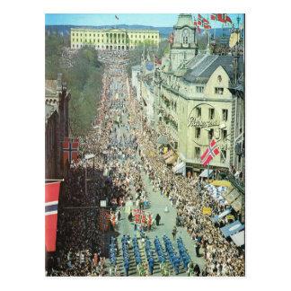 Vintage Noruega, Oslo, desfile Tarjeta Postal