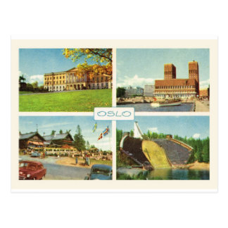 Vintage Noruega, Oslo, multiview Postales