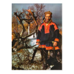 Vintage Noruega, Sami y su reno Postal