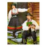 Vintage Noruega, traje tradicional noruego Tarjeta Postal