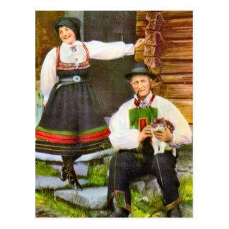 Vintage Noruega, traje tradicional noruego Postal