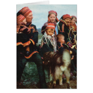 Vintage Norway, Lapland, Sami family 1950 Card