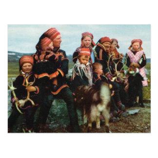 Vintage Norway, Lapland, Sami family 1950 Postcard
