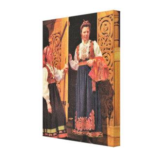 Vintage Norway, Norwegian traditional costume Canvas Print