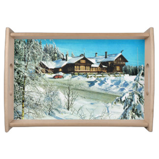 Vintage Norway, Oslo, House in the snow Serving Tray