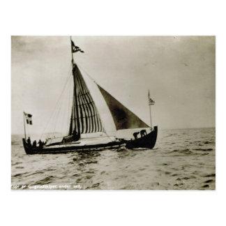 Vintage Norway,  Replica Gokstad ship at sea 1950s Postcard
