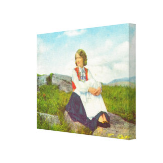Vintage Norway, Traditional Hardanger costume Canvas Print
