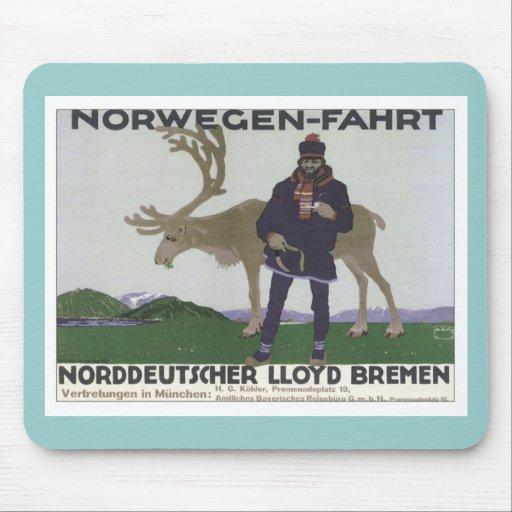 Vintage Norwegen Fahrt Mouse Pads