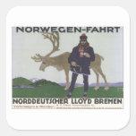 Vintage Norwegen Fahrt Square Stickers