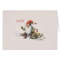 Vintage Norwegian Gnome God Jul Christmas Card at Zazzle