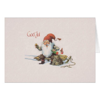 Vintage Norwegian Gnome God Jul Christmas Card