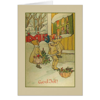 Vintage Norwegian God Jul Christmas Greeting Card