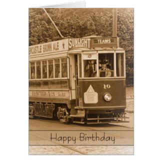 Vintage, Nostalgia, Retro Birthday Card - Old Tram