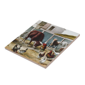 Vintage Nostalgic Barnyard Currier and Ives Small Square Tile