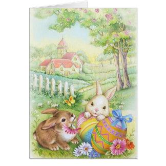Vintage, nostalgic Easter bunnies Card