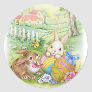 Vintage, nostalgic Easter bunnies Classic Round Sticker