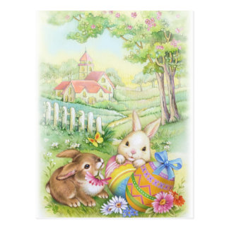 Vintage, nostalgic Easter bunnies Postcard