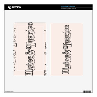 Vintage Notes And Queries Typograph Kindle Fire Skin