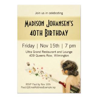 Vintage Nouveau Birthday Party Card