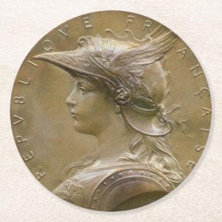 Vintage Nouveau French Medallion Round Paper Coaster