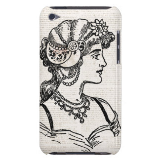 Vintage nouveau lady portrait over text barely there iPod cases