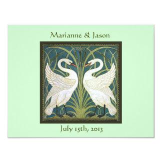 Vintage Nouveau Swans Wedding Invitation
