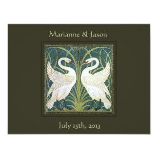 Vintage Nouveau Swans Wedding Invitation 3