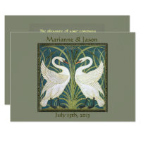Vintage Nouveau Swans Wedding Invitation 5