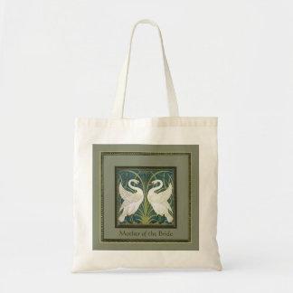 Vintage Nouveau Swans Wedding Party Keepsake Tote Tote Bags