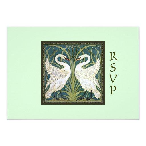 Vintage Nouveau Swans Wedding RSVP Card 1 Custom Invitation