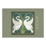 Vintage Nouveau Swans Wedding RSVP Card 2 Invitations