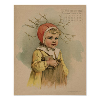 Vintage November 1891 beautiful children drawing Poster