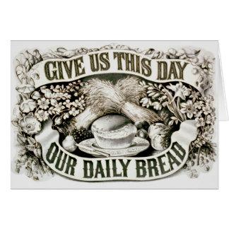 Vintage nuestro rezo cristiano 1872 del pan diario tarjeta de felicitación