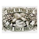 Vintage nuestro rezo cristiano 1872 del pan diario postal