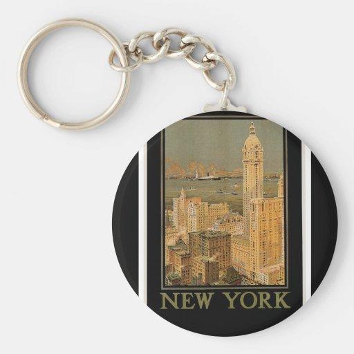 Vintage Nueva York de Glasgow por la línea del anc Llavero
