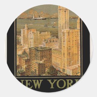 Vintage Nueva York de Glasgow por la línea del Pegatina Redonda