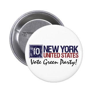 Vintage Nueva York del Partido Verde del voto en 2 Pin