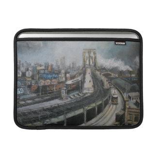 Vintage Nueva York que pinta el puente de Brooklyn Fundas MacBook