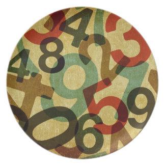 vintage numbers texture plate