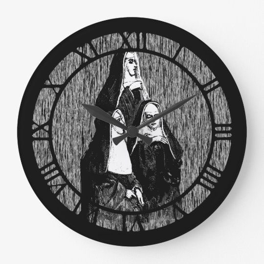 Vintage Nun Illustration Large Clock