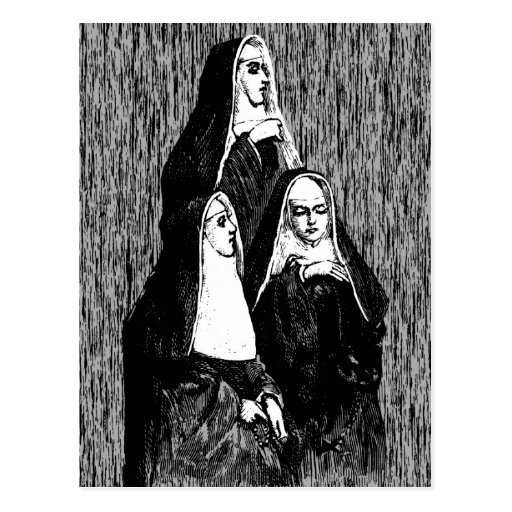 Vintage Nun Illustration Postcards