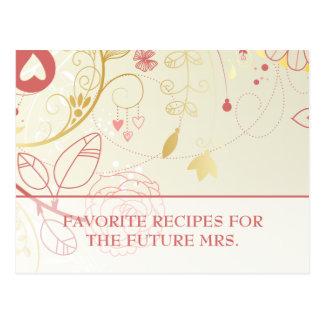 Vintage nupcial de las tarjetas de la receta de la tarjetas postales