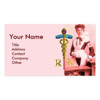 VINTAGE NURSE and Gold Caduceus NR Emblem Business Card