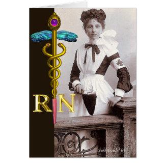 VINTAGE NURSE and Gold Caduceus NR Emblem Greeting Card