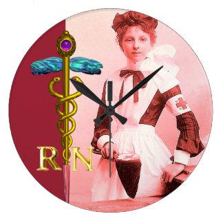 VINTAGE NURSE and Gold Caduceus NR Emblem Large Clock