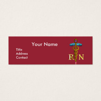 VINTAGE NURSE and Gold Caduceus NR Emblem Mini Business Card