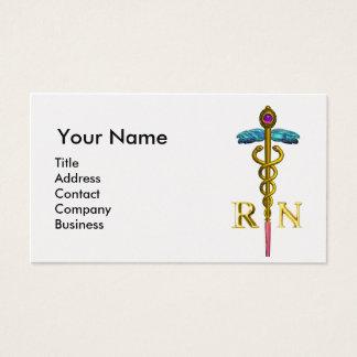 VINTAGE NURSE and Gold Caduceus NR Emblem Pearl Business Card