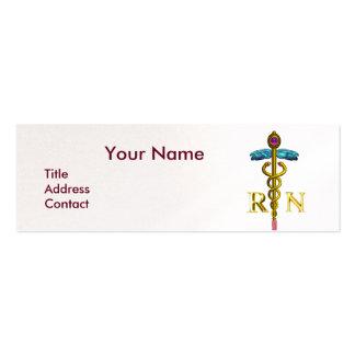 VINTAGE NURSE and Gold Caduceus NR Emblem Pearl Mini Business Card